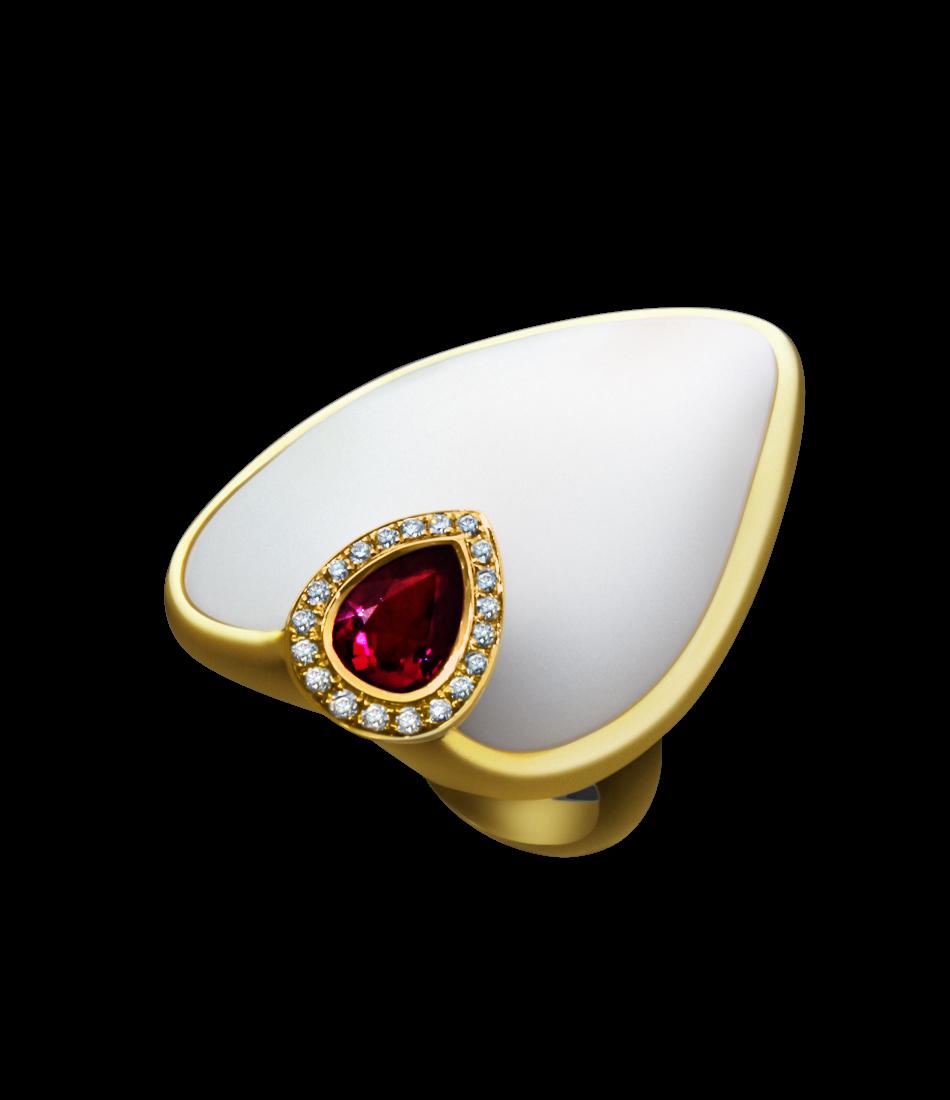 Coral tourmalin diamond ring