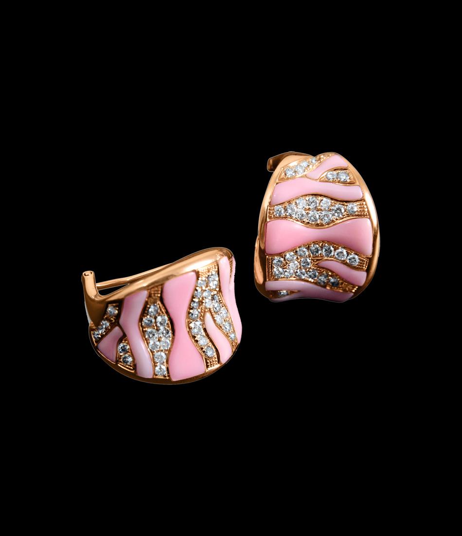 Pink shell earringst